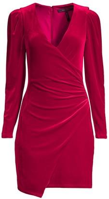 BCBGMAXAZRIA Shirred Velvet Mini Dress
