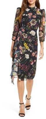 Eliza J Ruffle High Neck Floral Chiffon Dress