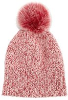 Bergdorf Goodman Marled Cashmere Pompom Beanie Hat, Red
