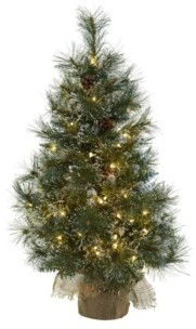 Nearly Natural 3-Ft. Christmas Tree with Clear Lights, Frosted Tips, Pine Cones and Burlap Bag