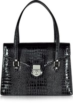 L.a.p.a. Black Croco-style Leather Double Gusset Briefcase