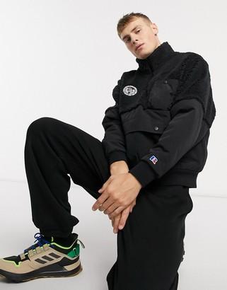 Russell Athletic half zip fleece pullover in black