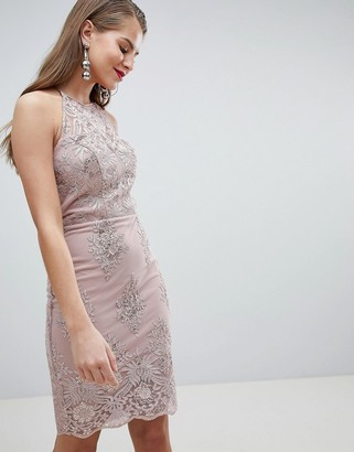 Lipsy sequin lace bodycon midi dress-Pink