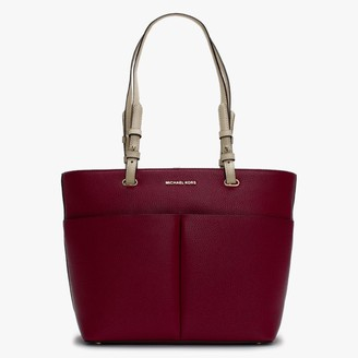 Michael Kors Bedford II Berry Leather Top Zip Pocket Tote Bag