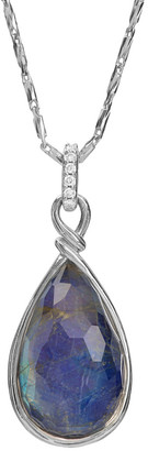 Michael Aram Enchanted Forest Silver 0.05 Ct. Tw. Diamond & Lapis Crystal Doublet Necklace