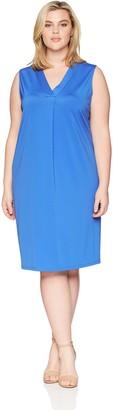 Kasper Women's Size Plus Ribbed Knit V Neck Shift Dress