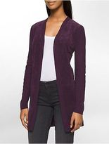 Calvin Klein Womens Ribbed Knit Suede Cardigan