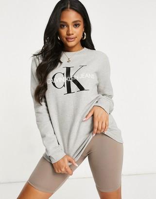 Calvin Klein Jeans logo sweatshirt-Grey