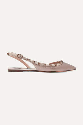 Valentino Garavani The Rockstud Metallic Textured-leather Slingback Flats - Gold