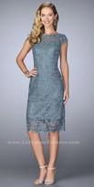 La Femme Bateau Scalloped Lace Knee Length Dress