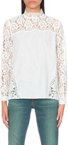 Sandro Cassie floral-lace and cotton top