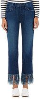 3x1 Women's Crop Fringe Jeans-BLUE