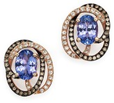Bloomingdale's Tanzanite, White Diamond and Brown Diamond Earrings in 14K Rose Gold