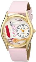 Whimsical Watches Pastries Pink Leather and Goldtone Unisex Quartz Watch with White Dial Analogue Display and Multicolour Leather Strap C-0310009
