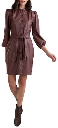Shoshanna Tallen Faux Leather Shirtdress