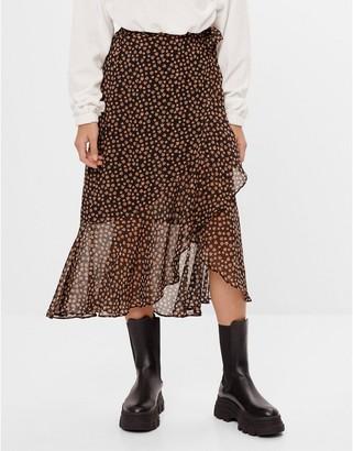 Bershka floral wrap midi skirt in black