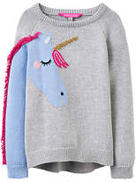 Joules Little Joule Girls' Unicorn Jumper, Grey