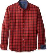 Bugatchi Men's Seersucker Long Sleeve Shaped Fit Point Collar Shirt