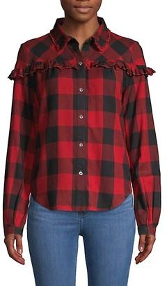 Frame Ruffle-Trimmed Buffalo Plaid Cotton Shirt