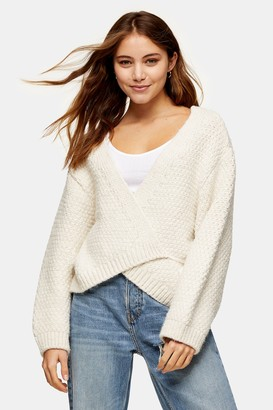 Topshop Womens Ivory Chunky Knitted Cardigan - Ivory