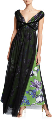 Chiara Boni Overlay Floral V-Neck Gown with Band Trim