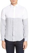 Eleventy Men's Colorblock Linen Sport Shirt