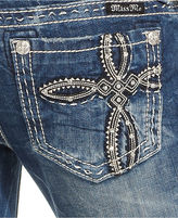 Miss Me Faux-Leather Destroyed Bootcut Jeans