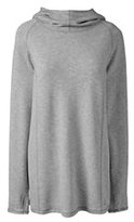 Lands' End Women's Petite Active Hooded Popover Top-Gray Heather