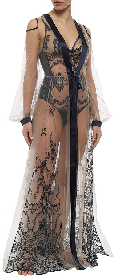 Thumbnail for your product : I.D. Sarrieri Cold-shoulder Satin-trimmed Embroidered Tulle Robe