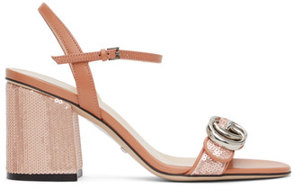 Gucci Pink Sequin GG Marmont Mid Heeled Sandals