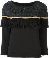 Christian Pellizzari contrast knit fringed sweatshirt