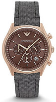 Emporio Armani Chronograph & Date Herringbone-Strap Dress Watch