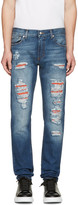 Alexander McQueen Blue Distressed Jeans