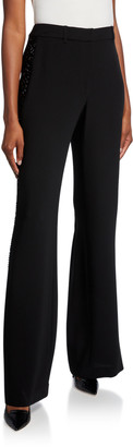 Lafayette 148 New York Dalton Wide-Leg Finesse Crepe Pants with Embellishment