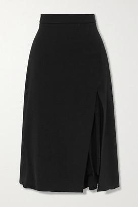 Cushnie Pleated Silk Chiffon-paneled Crepe Midi Skirt - Black