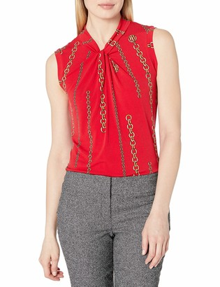 Tommy Hilfiger Women's Chain Print Knot Neck Sleeveless Top