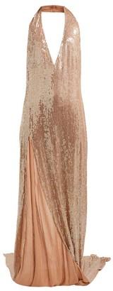 Ashish Chandra Halterneck Sequinned Dress - Womens - Beige