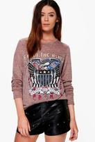 boohoo Tall Anya Printed Long Sleeved Band Tee pink
