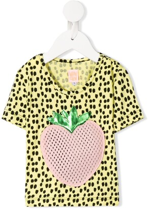 Wauw Capow By Bangbang Johanna strawberry applique T-shirt