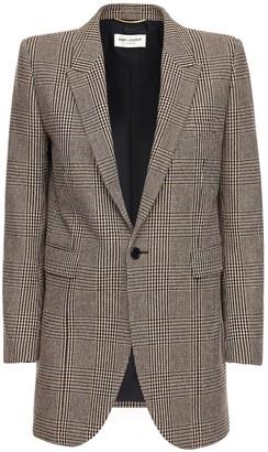 Saint Laurent Prince Of Wales Wool Blend Jacket