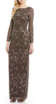Aidan Mattox Rounded Neck Long Sleeve Beaded Applique Gown