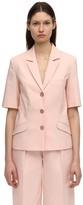 Lesyanebo Cotton Blend Short Sleeve Jacket