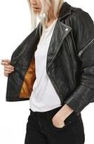 Topshop 'Lightning' Leather Biker Jacket