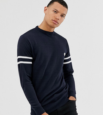 Le Breve Tall lightweight knitted sweater with arm stripe-Navy