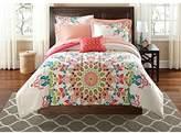 8 Piece Girls Medallion Motif Comforter Full Set, Elegance Boho Chic Hippy Floral Bedding, Bohemian Textural Mandala Pattern, Tribal Southwest Indian Native, Abstract Colors Coral Pink Blue Green