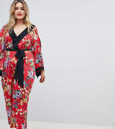 Asos DESIGN Curve Kimono Jumpsuit With Tipping In Floral
