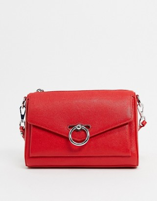 Rebecca Minkoff jean leather shoulder bag with ring closure in red