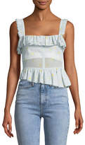 Brock Collection Tegan Geranium-Print Ruffled Corset Tank with Asymmetric Hem