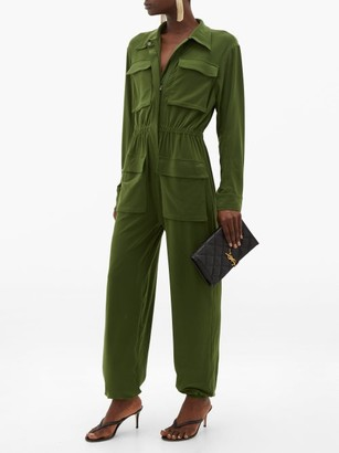 Norma Kamali Patch-pocket Zipped Jersey Jumpsuit - Womens - Khaki