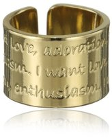 Mercedes Salazar Embossed with Magical Words Gold-Plated Bronze Adjustable Ring